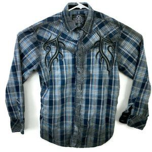Roar Embroidered Distressed Button Down Shirt